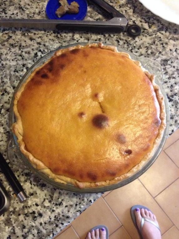 Puffy pie with knife hole
